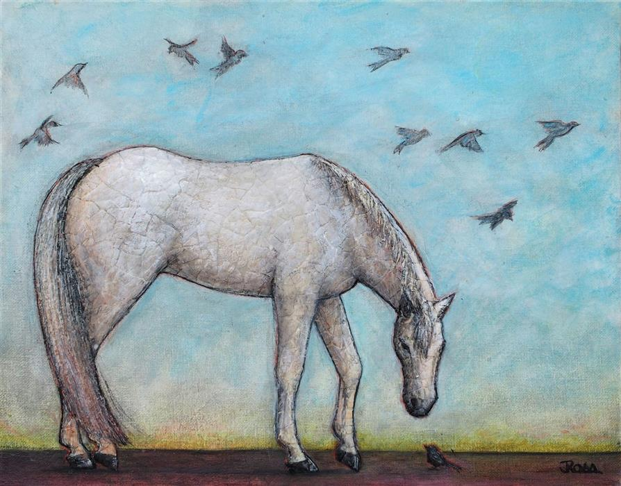 Original art for sale at UGallery.com | Kintsugi Horse - The Passing Wisdom of Birds by Jennifer Ross | $425 | mixed media artwork | 11' h x 14' w | ..\art\mixed-media-artwork-Kintsugi-Horse-The-Passing-Wisdom-of-Birds