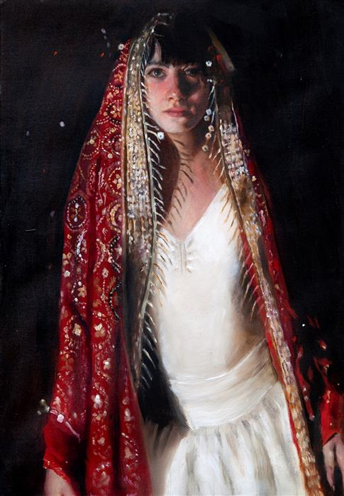 Original art for sale at UGallery.com | Woman in Moroccan Costume by John Kelly | $2,800 | oil painting | 21.5' h x 15' w | ..\art\oil-painting-Woman-in-Moroccan-Costume