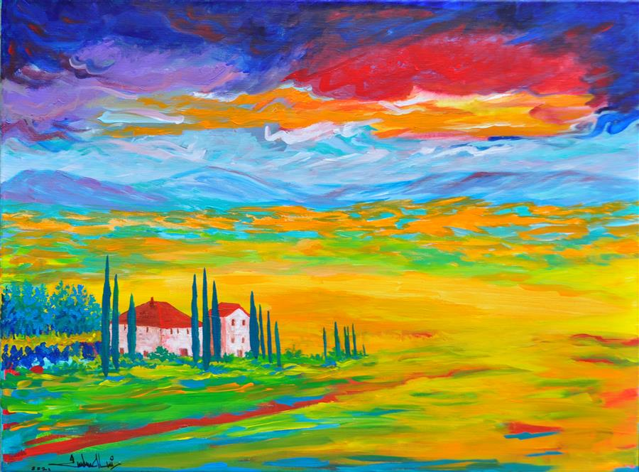 Original art for sale at UGallery.com   Cheerful Day Ahead by Zelie Alice   $1,550   acrylic painting   21.5' h x 29' w   ..\art\acrylic-painting-Cheerful-Day-Ahead