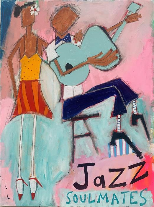 Original art for sale at UGallery.com | Jazz Soulmates by Rick Hamilton | $2,275 | acrylic painting | 40' h x 30' w | ..\art\acrylic-painting-Jazz-Soulmates