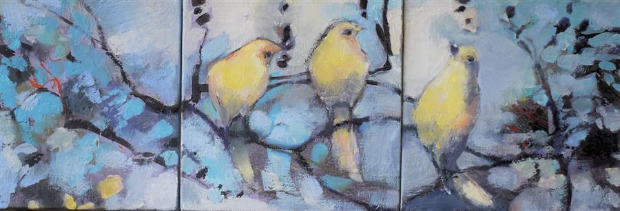 Original art for sale at UGallery.com | Tweet by Mary Pratt | $500 | oil painting | 6' h x 18' w | ..\art\oil-painting-Tweet