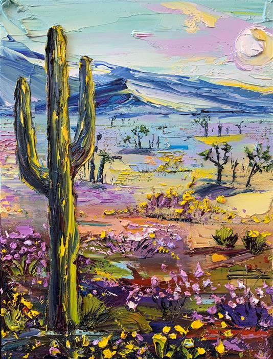 Original art for sale at UGallery.com   Desert Bloom by Lisa Elley   $675   oil painting   16' h x 12' w   ..\art\oil-painting-Desert-Bloom