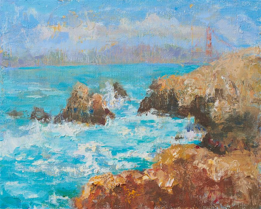 Original art for sale at UGallery.com | View from the Point by Oksana Johnson | $550 | oil painting | 8' h x 10' w | ..\art\oil-painting-View-from-the-Point
