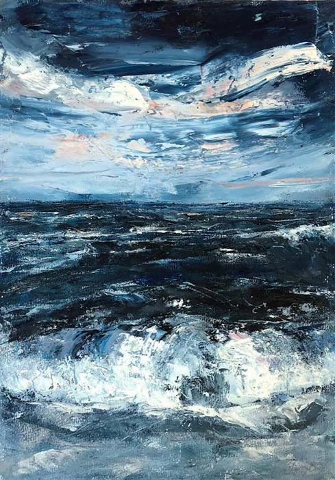 Original art for sale at UGallery.com | Seaward by Tiffany Blaise | $475 | mixed media artwork | 16' h x 12' w | ..\art\mixed-media-artwork-Seaward