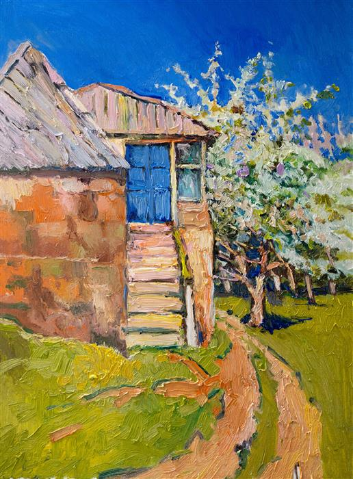 Original art for sale at UGallery.com | Spring and Old Farm House with Blue Door by Suren Nersisyan | $500 | oil painting | 24' h x 18' w | ..\art\oil-painting-Spring-and-Old-Farm-House-with-Blue-Door