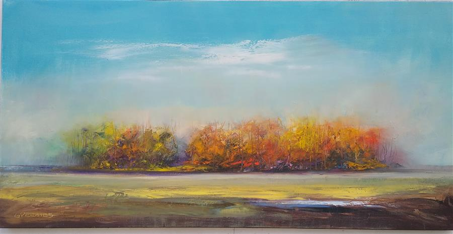 Original art for sale at UGallery.com | Autumn Woodland by George Peebles | $4,600 | oil painting | 30' h x 60' w | ..\art\oil-painting-Autumn-Woodland