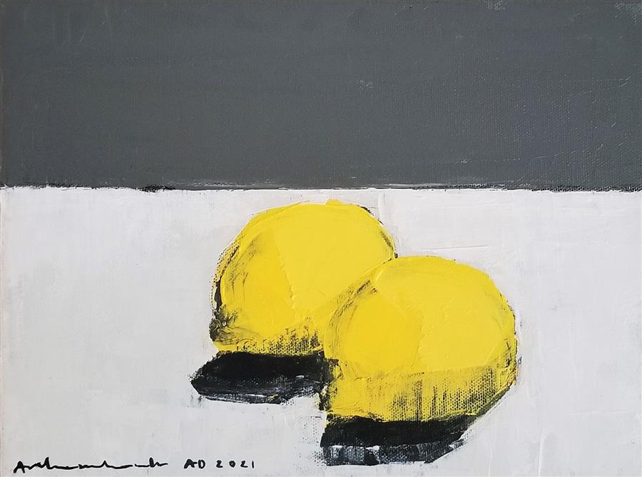 Original art for sale at UGallery.com | Two Lemons by Paulina Archambault | $400 | acrylic painting | 9' h x 12' w | ..\art\acrylic-painting-Two-Lemons