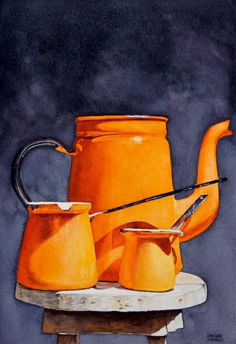 Original art for sale at UGallery.com | Tangerines by Dwight Smith | $375 | watercolor painting | 10' h x 7' w | ..\art\watercolor-painting-Tangerines
