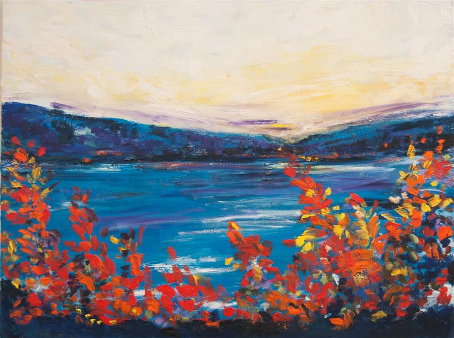 Original art for sale at UGallery.com | Coastal Color Burst by Kajal Zaveri | $2,500 | oil painting | 30' h x 40' w | ..\art\oil-painting-Coastal-Color-Burst