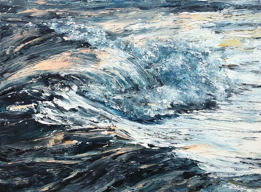 Original art for sale at UGallery.com | Arriving Swell by Tiffany Blaise | $575 | mixed media artwork | 12' h x 16' w | ..\art\mixed-media-artwork-Arriving-Swell
