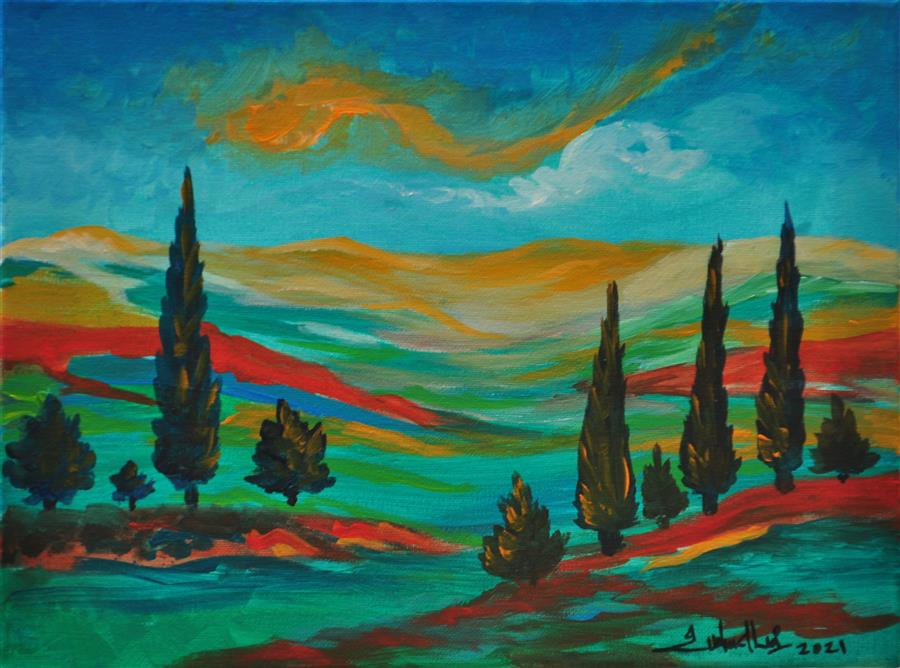 Original art for sale at UGallery.com | Cypress Valley by Zelie Alice | $650 | acrylic painting | 12' h x 15.7' w | ..\art\acrylic-painting-Cypress-Valley
