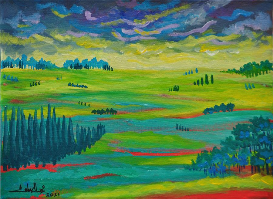 Original art for sale at UGallery.com | We Both Forgot the Breeze by Zelie Alice | $650 | acrylic painting | 12' h x 15.7' w | ..\art\acrylic-painting-We-Both-Forgot-the-Breeze