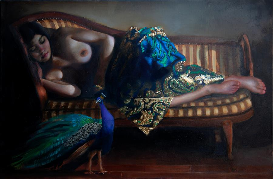 Original art for sale at UGallery.com   Woman with Peacock by John Kelly   $3,500   oil painting   23.5' h x 35.25' w   ..\art\oil-painting-Woman-with-Peacock