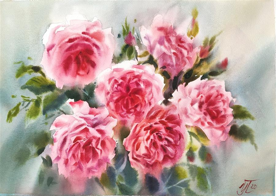 Original art for sale at UGallery.com | Garden Roses by Irina Pronina | $925 | watercolor painting | 15' h x 21' w | ..\art\watercolor-painting-Garden-Roses-71165