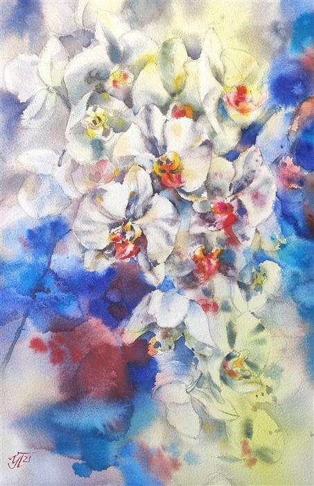 Original art for sale at UGallery.com | Orchid Blue by Irina Pronina | $925 | watercolor painting | 21' h x 15' w | ..\art\watercolor-painting-Orchid-Blue