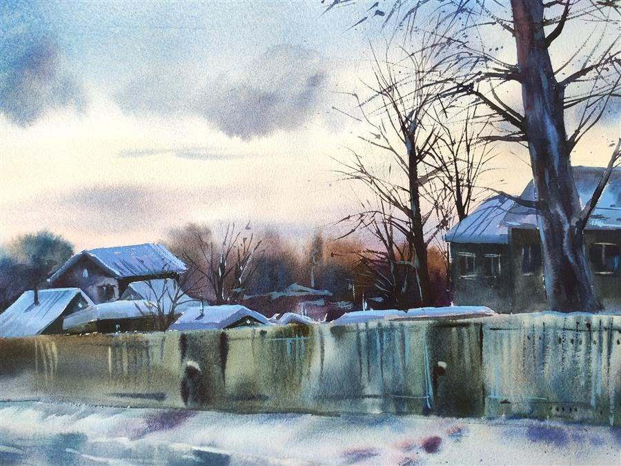 Original art for sale at UGallery.com | Quiet Evening by Irina Pronina | $925 | watercolor painting | 15' h x 21' w | ..\art\watercolor-painting-Quiet-Evening