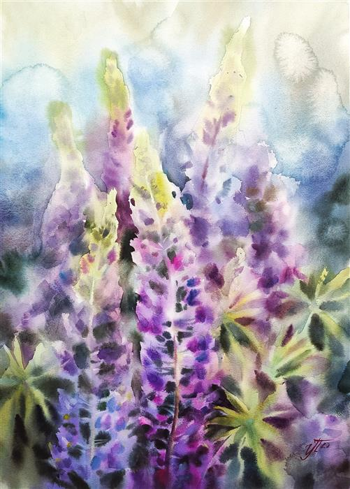 Original art for sale at UGallery.com | Lilac Evening by Irina Pronina | $925 | watercolor painting | 21' h x 15' w | ..\art\watercolor-painting-Lilac-Evening