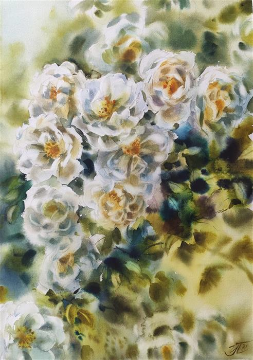 Original art for sale at UGallery.com | White Rosehip by Irina Pronina | $925 | watercolor painting | 21' h x 15' w | ..\art\watercolor-painting-White-Rosehip