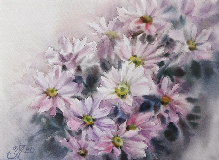 Original art for sale at UGallery.com | Delicate Chrysanthemums by Irina Pronina | $450 | watercolor painting | 10' h x 15' w | ..\art\watercolor-painting-Delicate-Chrysanthemums