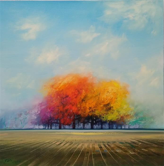 Original art for sale at UGallery.com | Brilliant Colors of Autumn by George Peebles | $2,400 | oil painting | 36' h x 36' w | ..\art\oil-painting-Brilliant-Colors-of-Autumn