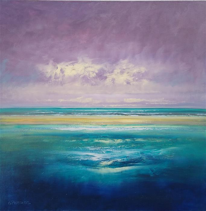 Original art for sale at UGallery.com | Private Beach by George Peebles | $2,400 | oil painting | 36' h x 36' w | ..\art\oil-painting-Private-Beach