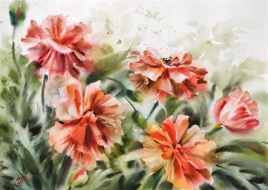 Original art for sale at UGallery.com | Red Poppies by Irina Pronina | $925 | watercolor painting | 15' h x 21' w | ..\art\watercolor-painting-Red-Poppies