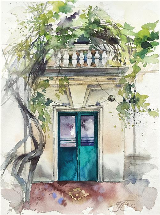 Original art for sale at UGallery.com | Painting about Sevastopol 2 by Irina Pronina | $350 | watercolor painting | 11' h x 7' w | ..\art\watercolor-painting-Painting-about-Sevastopol-2
