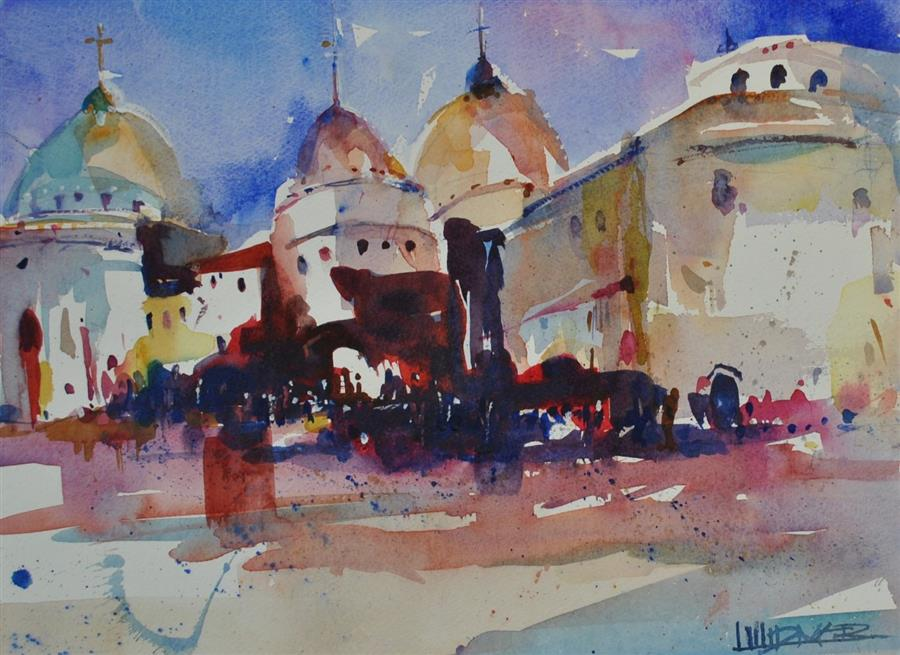 Original art for sale at UGallery.com | Tres Basilicas by Lanie Widmar | $550 | watercolor painting | 15' h x 20' w | ..\art\watercolor-painting-Tres-Basilicas