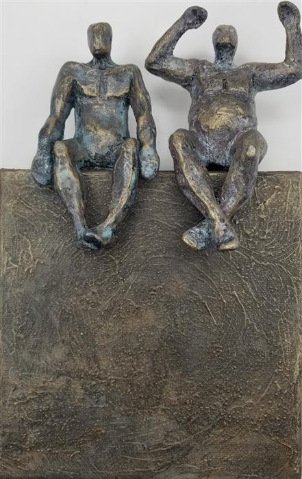 Original art for sale at UGallery.com   Harmony Couple on Bronze 1 by Yelitza Diaz   $300   mixed media artwork   9' h x 6' w   ..\art\mixed-media-artwork-Harmony-Couple-on-Bronze-1