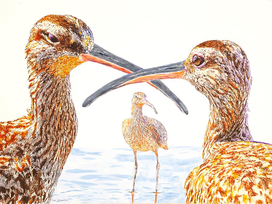 Original art for sale at UGallery.com | Three Whimbrels in Conversation by Emil Morhardt | $2,875 | acrylic painting | 36' h x 48' w | ..\art\acrylic-painting-Three-Whimbrels-in-Conversation