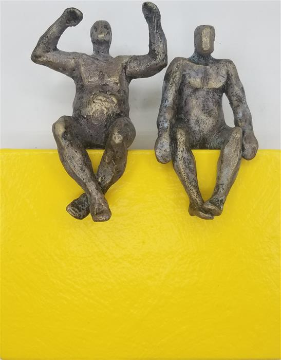 Original art for sale at UGallery.com | Couple on Yellow Rectangle by Yelitza Diaz | $375 | mixed media artwork | 8.5' h x 7' w | ..\art\mixed-media-artwork-Couple-on-Yellow-Rectangle