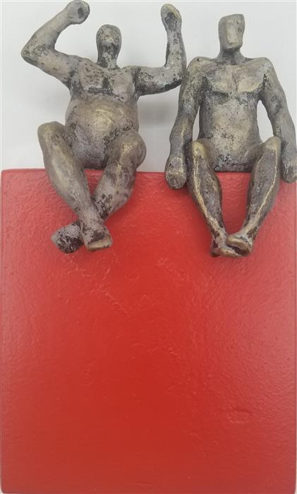 Original art for sale at UGallery.com | Successful Couple on Red by Yelitza Diaz | $300 | mixed media artwork | 9' h x 5.5' w | ..\art\mixed-media-artwork-Successful-Couple-on-Red