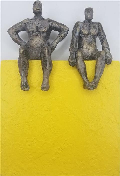 Original art for sale at UGallery.com | Couple on Yellow Square by Yelitza Diaz | $375 | mixed media artwork | 10' h x 7' w | ..\art\mixed-media-artwork-Couple-on-Yellow-Square