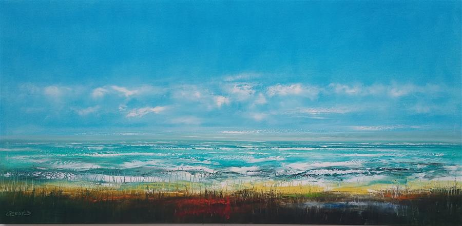 Original art for sale at UGallery.com | The Shoreline by George Peebles | $8,400 | oil painting | 36' h x 72' w | ..\art\oil-painting-The-Shoreline
