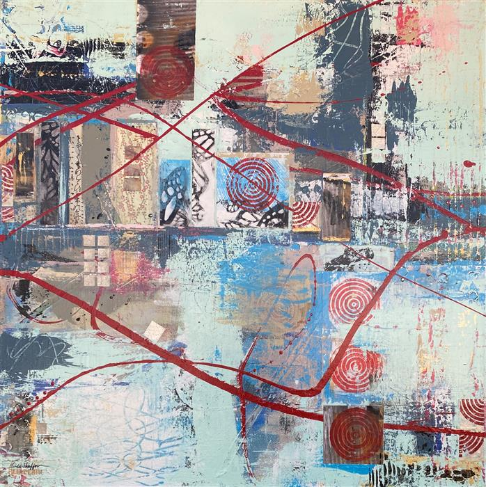 Original art for sale at UGallery.com   Waterfront by Linda Shaffer   $1,500   mixed media artwork   36' h x 36' w   ..\art\mixed-media-artwork-Waterfront