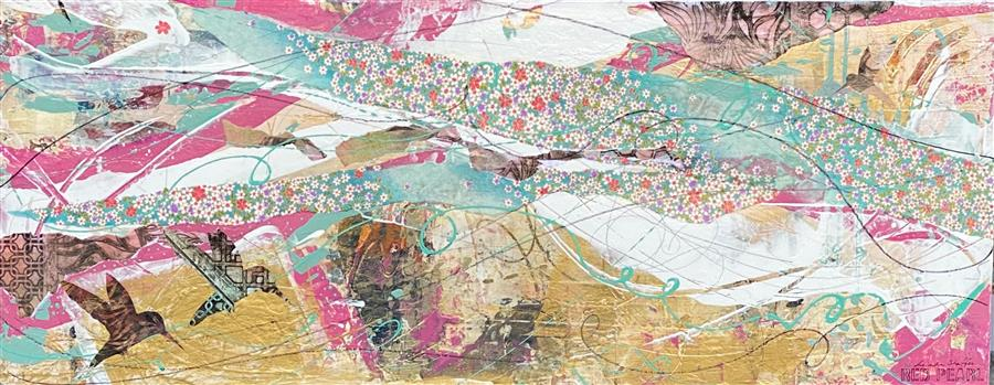 Original art for sale at UGallery.com | Spring Filled the Air by Linda Shaffer | $475 | mixed media artwork | 12' h x 30' w | ..\art\mixed-media-artwork-Spring-Filled-the-Air