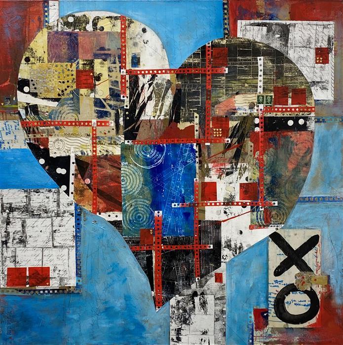 Original art for sale at UGallery.com | Sending Love by Linda Shaffer | $1,500 | mixed media artwork | 36' h x 36' w | ..\art\mixed-media-artwork-Sending-Love