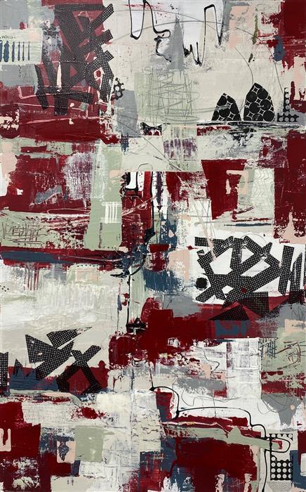 Original art for sale at UGallery.com | Free Parking by Linda Shaffer | $1,800 | mixed media artwork | 48' h x 30' w | ..\art\mixed-media-artwork-Free-Parking