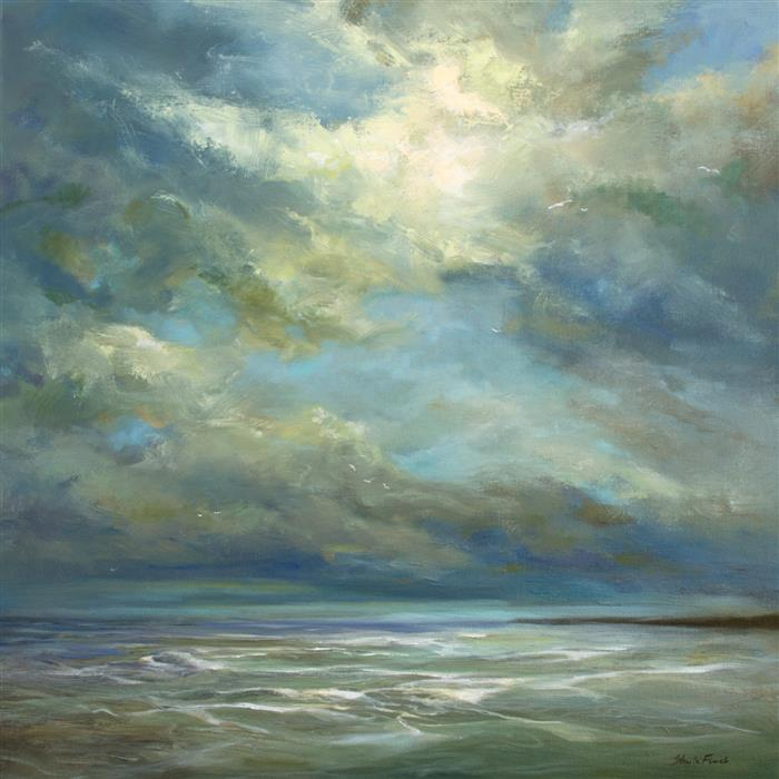 Original art for sale at UGallery.com | Ocean Sky by Sheila Finch | $1,550 | oil painting | 20' h x 20' w | ..\art\oil-painting-Ocean-Sky