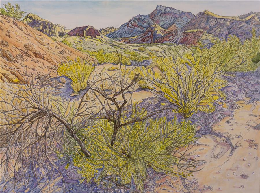 Original art for sale at UGallery.com | Desert Wash by Crystal DiPietro | $5,000 | mixed media artwork | 36' h x 48' w | ..\art\mixed-media-artwork-Desert-Wash