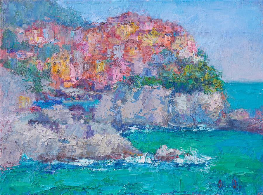 Original art for sale at UGallery.com | The Village by the Sea by Oksana Johnson | $650 | oil painting | 9' h x 12' w | ..\art\oil-painting-The-Village-by-the-Sea