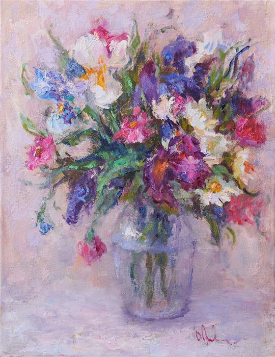 Original art for sale at UGallery.com | Spring Bouquet by Oksana Johnson | $1,000 | oil painting | 18' h x 14' w | ..\art\oil-painting-Spring-Bouquet