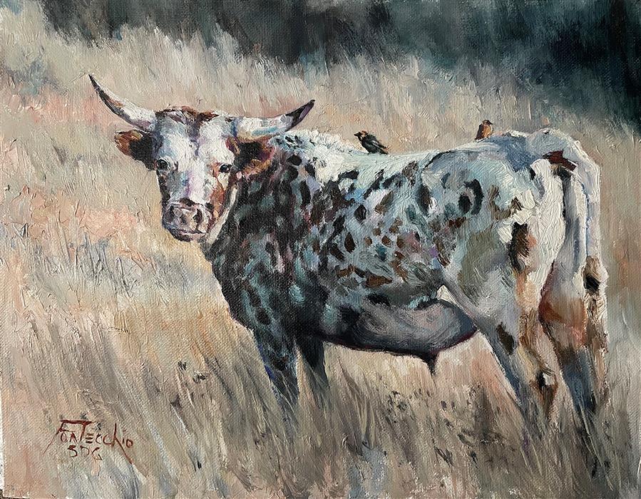Original art for sale at UGallery.com | Summer Pastures by Jan Fontecchio Perley | $675 | oil painting | 11' h x 14' w | ..\art\oil-painting-Summer-Pastures