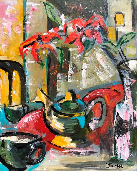 Original art for sale at UGallery.com | Tea for Two by Sharon Sieben | $620 | acrylic painting | 20' h x 16' w | ..\art\acrylic-painting-Tea-for-Two-71234