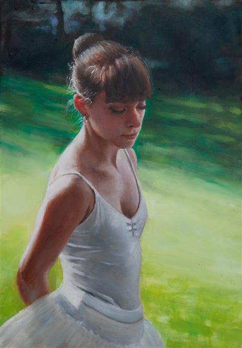 Original art for sale at UGallery.com | Clemence in the Garden by John Kelly | $2,800 | oil painting | 21.5' h x 15' w | ..\art\oil-painting-Clemence-in-the-Garden