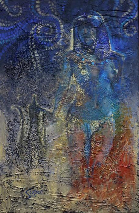 Original art for sale at UGallery.com | Blue Nile by Patrick Soper | $2,350 | mixed media artwork | 36' h x 24' w | ..\art\mixed-media-artwork-Blue-Nile