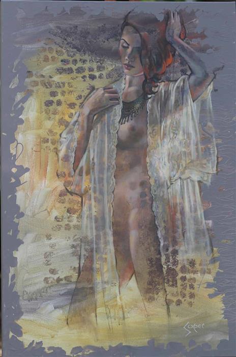 Original art for sale at UGallery.com | Dappled Light by Patrick Soper | $2,400 | mixed media artwork | 36' h x 24' w | ..\art\mixed-media-artwork-Dappled-Light-71243
