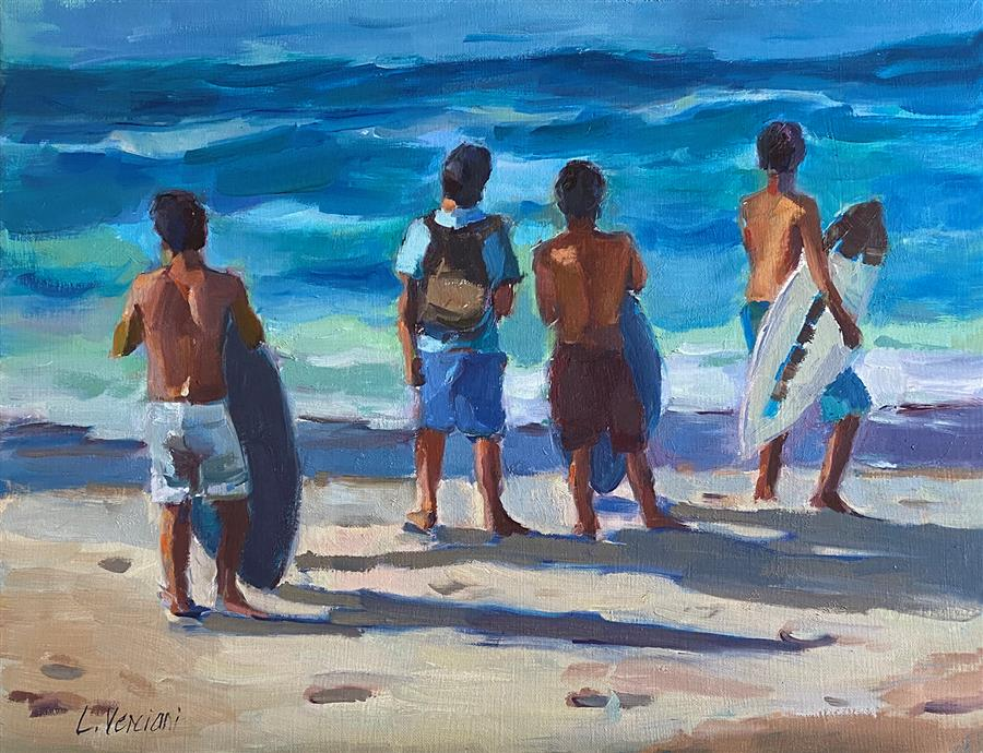Original art for sale at UGallery.com | Boys of Summer by Claudia Verciani | $1,075 | oil painting | 16' h x 20' w | ..\art\oil-painting-Boys-of-Summer