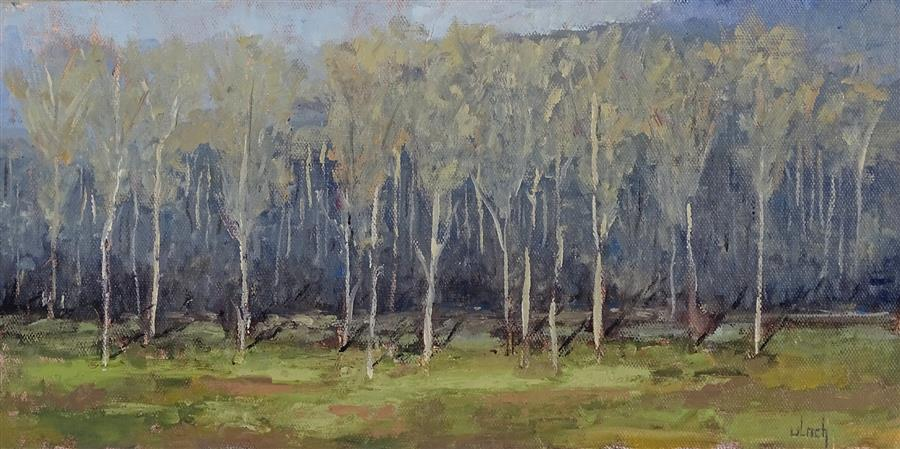 Original art for sale at UGallery.com | Erwachen Am Kaiserstuhl by Ingo Ulrich | $500 | oil painting | 7.9' h x 15.8' w | ..\art\oil-painting-Erwachen-Am-Kaiserstuhl
