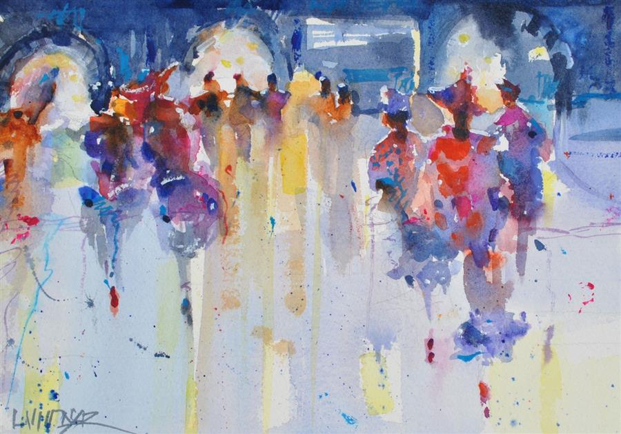 Original art for sale at UGallery.com | Ladies' Night at the Opera by Lanie Widmar | $400 | watercolor painting | 11.5' h x 16' w | ..\art\watercolor-painting-Ladies-Night-at-the-Opera